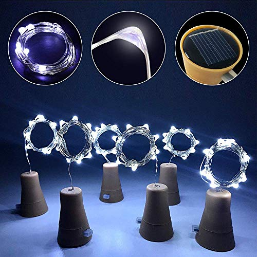 YLHXYPP 10 piezas de alambre de cobre LED Garland Solar Powered Corcho botella de vino luces de Navidad LED cadena luces fiesta boda decoración lámpara protección del medio ambiente
