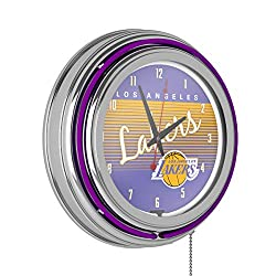 Los Angeles Lakers Hardwood Classics NBA Chrome Neon Clock