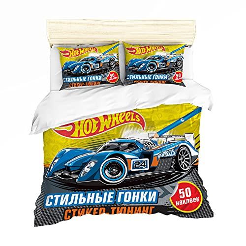 NICHIYO Hot Wheels Juego de ropa de cama – Funda nórdica y funda de almohada, microfibra, impresión digital 3D de tres piezas (6,SK 260 x 220 cm + 80 x 80 cm)
