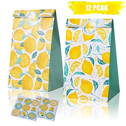 So Fresh Lemon Gift Bags Lemon Pattern Treat Bag Citrus Lemonade Party Goodie Bag for Citrus Fruit Floral Party Birthday Party Baby Shower 12 Pack