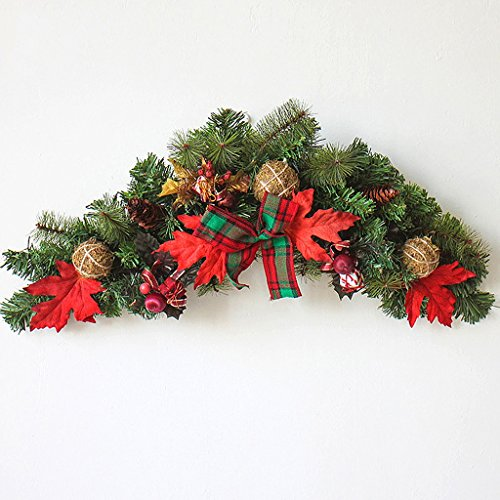 LSX - Corona Vine del árbol de Navidad - Decoración de diseño de Escena de Navidad de Adorno de Puerta de ratán de Navidad de 90 cm / - /