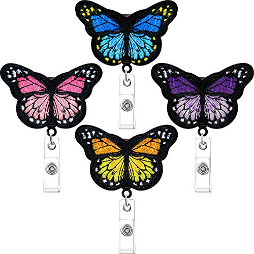 4 Pieces Butterfly Badge Reels Retractable Nurse Badge Holder Cute Butterfly ID Badge Reel with Alligator Clips for Nurses, Volunteers, Students, Teachers (Pink, Yellow, Cyan, Purple)