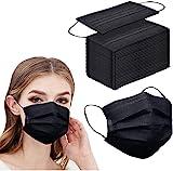 100pcs Black Disposable Face Mask 3-ply Black Face Masks Breathable by NNPCBT