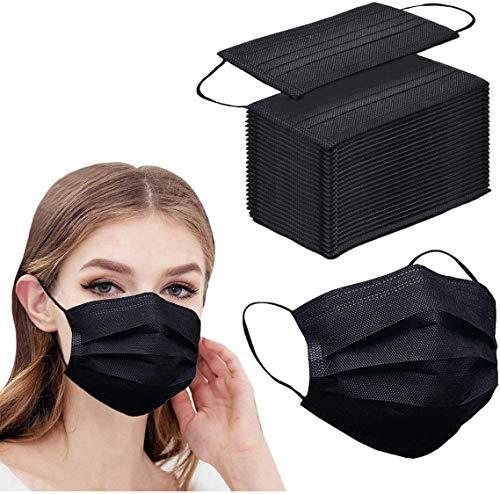 100pcs Black Disposable Face Mask 3-ply Black Face Masks Breathable