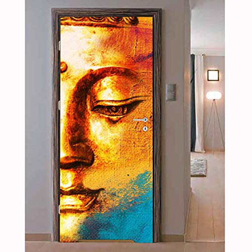 WBDJTX 3D Door Stickers Mural Wallpaper PVC Golden Buddha Face Art Sticker Poster Removable Self-Adhesive Wall Stickers for Kids Bedroom Living Room Kitchen Home Office Decor 37.4X84.6 Inch