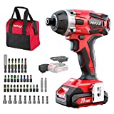 Impact Driver Kit, 1770 in-lbs 20V Max Lithium Ion Cordless 1/4' Hex Impact Drill, 0-2900RPM Variable Speed, Battery,...
