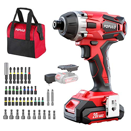 Impact Driver Kit 1770 inlbs 20V Max Lithium Ion Cordless 1/4quot Hex Impact Drill 02900RPM Variable Speed Battery Fast Charger 39 Piece Impact Drive Bits and Tool Bag Included Populo CIDL2003