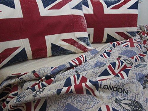 Pago Poco Bettwäscheset für französisches Bett, Motiv: Flagge Großbritannien, 100 % natürliche Baumwolle, hergestellt in Italien. !