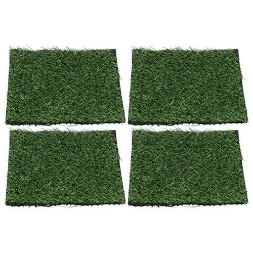 DAUERHAFT Rasenteppich Teppich Mehrzweck 4PCS Dicker Kunstrasen Rasen Rasen für Hinterhof Balkon Bodenbelag Dekor