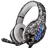 PS4 Cuffie, Moimhear Cuffie Da Gioco, Xbox One Cuffie Gaming Super Confortevole Stereo Bass Noise Cancelling Headset Auricolare per PS4 Xbox One PC Smartphone - Grigio Mimetico