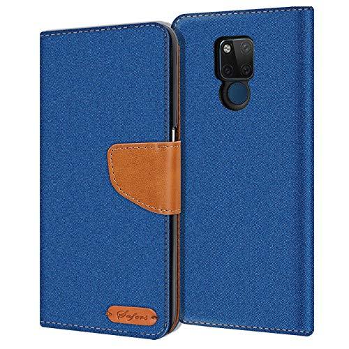 Verco Art Funda de Cuero Huawei Mate 20 X, Funda para teléfono móvil para Mate 20 X Funda de Libro Tela, Azul