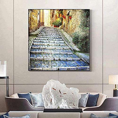 SXXRZA Impresiones de imágenes 50x50cm sin Marco Pintura Abstracta Moderna Pintura Impresa Cuadro de Pared póster Moderno Grecia callejón Imagen de Caballo
