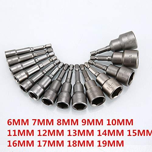 ETbotu 9 stuks magnetische schroevendraaier snelontgrendeling bit 1/4 inch zeskantschacht 6 mm-14 mm elektrische schroevendraaier boorhulzen voor boormachine