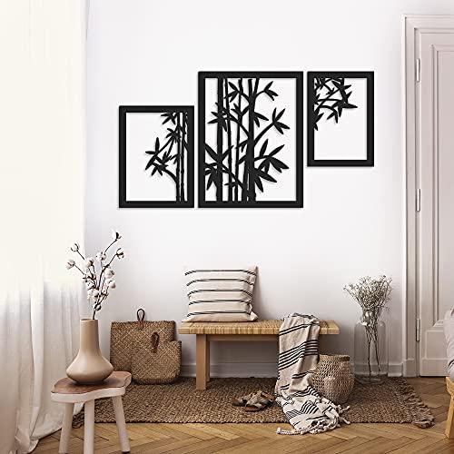 ODUN ARTS - Bambú - Cuadros Decorativos de Madera - Decoración de Pared - 88 cm Alto X 145 cm Ancho X 1 cm de Espesor - Negro
