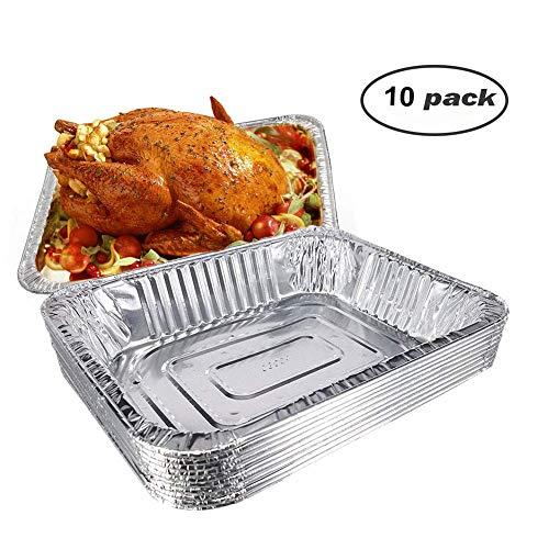 Premium Einweg-Aufbewahrungsboxen aus Aluminiumfolie, rechteckig, 32 x 25 x 6,3 cm, für Küche, Backen, Grill, Truthahnen, Hühner, Rind, Kartoffeln, für Familie, Dinner, Partys, Hochzeiten, 10 Stück