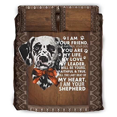 Zhouwonder I Am Your Dog Friend Life Love - Set di biancheria da letto ipoallergenica, facile da pulire e senza grinze, per dormitorio universitario, bianco, 228 x 264 cm