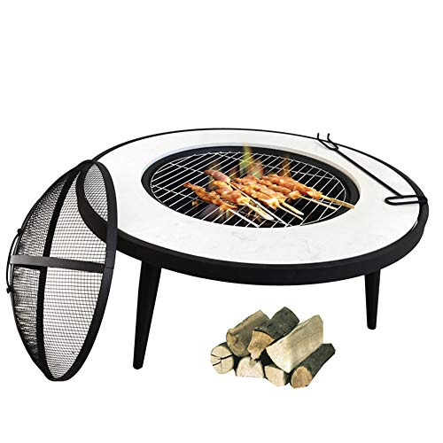 FMXYMC White Outdoor Barbecue BBQ Grill Table, Raise Fire Pit Round Table, with/Deep Fire Bowl/Net Cover/Chrome Grilled Wire Mesh/Black Charcoal Tray