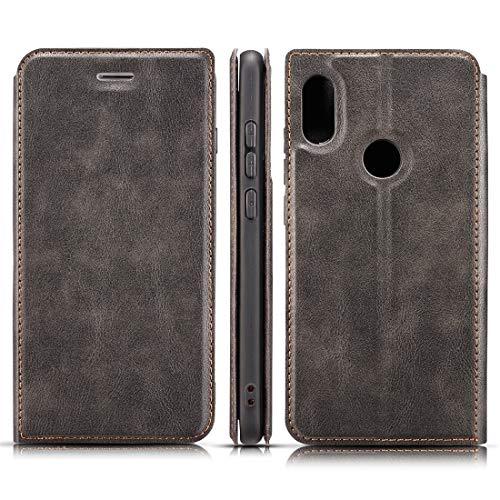 Funda para teléfono móvil retro simple ultrafina, magnética, con tapa horizontal, de piel, para Xiaomi Redmi 6 Pro/MI A2 lite, con soporte, ranuras para tarjetas y cordón (negro)