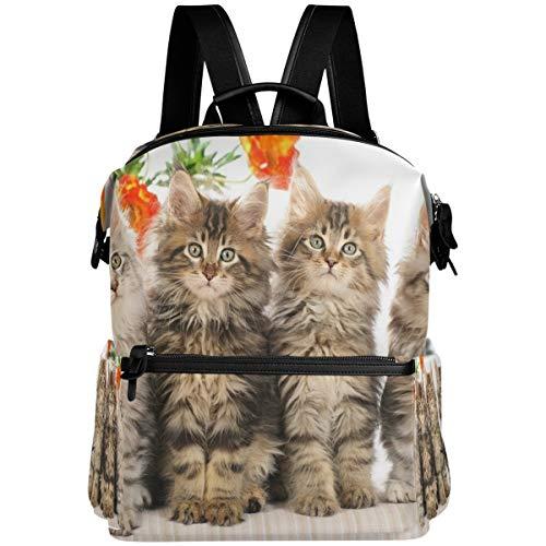 Oarencol - Mochila con diseño de cuatro animales y gatos, diseño de flores, para la escuela, para viajes, senderismo, camping, portátil