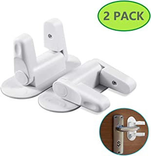 Door Lever Lock, 2 Pack Child Proof Doors Handles Child Safety Door Locks - Easy Adhesive No Tools Needed No Drilling, Protect Baby's Safety