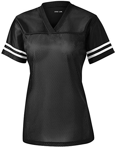 Joe's USA(tm) Ladies Replica Athletic Football Jersey,Black/ White,Medium / Size 8-10