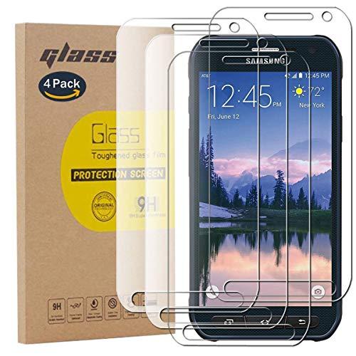 pinlu [4 Stück] Panzerglas Bildschirmschutzfolie für Samsung Galaxy S6 Active Transparent Glasfolie Protector 9H Festigkeitgrad Schutzglas,99prozent Transparenz,Einfaches Anbringen