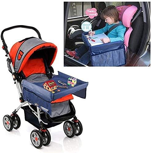 TANKKWEQ Cochecito de cochecito de cochecito de seguridad para niños, mesa de bandeja a prueba de agua y cochecitos de viaje de alto nivel de doble nivel, tapa de borrado seco de viaje en interiores y