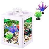Small Fish Tank, Mini Betta Fish Tank Stackable Cube Tank with Fish Tank Decor, Ant Feeding Case Mini Reptile Row Box (White)