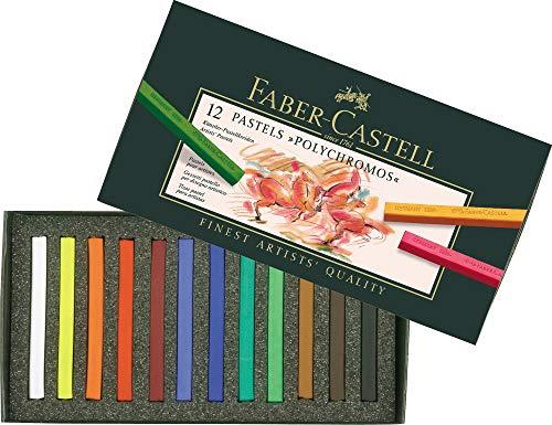 Faber-Castell 128512 – Estuche de cartón con 12 tizas pastel polychromos, multicolor