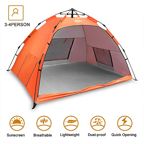 ZOTO Beach Tent, Automatic Pop Up Sun Shelter Tent, Anti UV 50+ Compact Portable 3-4 Persons Family Tent for Beach, Garden, Camping, Fishing, Picnic Hiking Travel