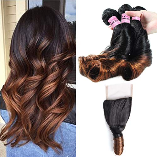 Ali Funmi 3 Bundles Brazilian Ombre Loose Curl Hair with Closure (18 20 22 +16inch) Unprocessed Wet and Wavy Spring Curly Hair with Free Part Lace Closure T1B/T4