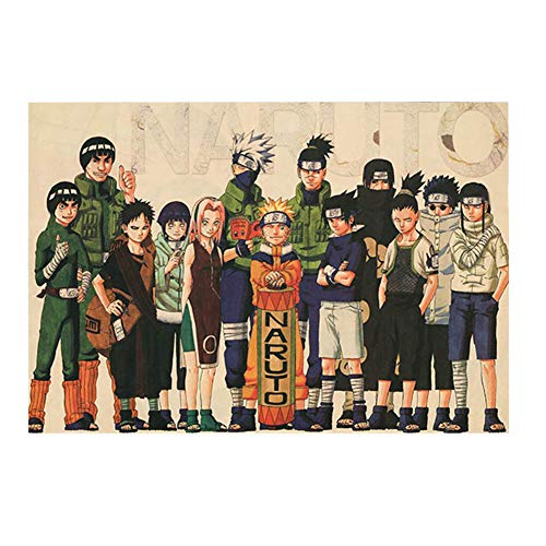 Zhenzhiao Anime My Hero Academia Naruto One Punch Man Tokyo Ghoul Promised Neverland Danganronpa Assassination Attack On Titan Papier Poster Bar Dekoration Home(50.5 * 35cm Naruto 03)
