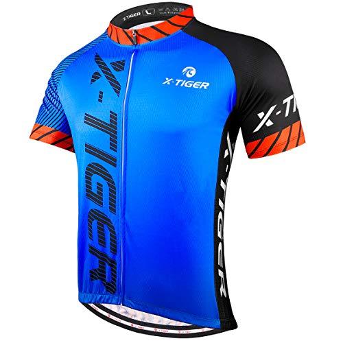X-TIGER Camisetas de Ciclismo para Hombre, Camiseta Corta, Top de Ciclismo, Jerseys de Ciclismo, Ropa de Ciclismo, Mountain Bike/MTB Shirt (M, Negro/Azul)