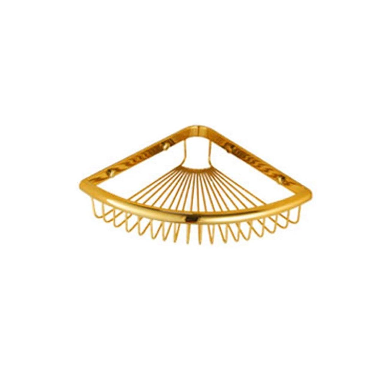 悩みバス影響全銅製のバスルームコーナーシェルフゴールデンヨーロピアンスタイルのバスルームファン型の三角形の収納ラックダブルバスケットバスルームウォールマウント300 * 210 * 55mm(サイズ:単層)