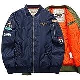 BRQ Chaqueta De Bombardero, MA-1 Par Bordado Patrón De Cuello Alto Chaqueta De Algodón-Deportes Y Ocio Flying Coat Top (Color : Azul Oscuro, Size : XXL-Large)