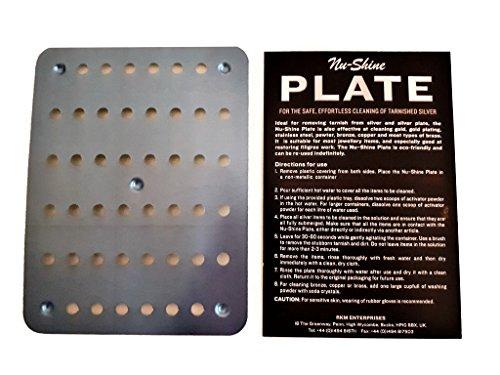 Plato de limpieza Nushine Magic plata (tamaño pequeño 11,5x15.4cm)–limpia varios artículos. Reutilizable, no químicos irritantes implicados
