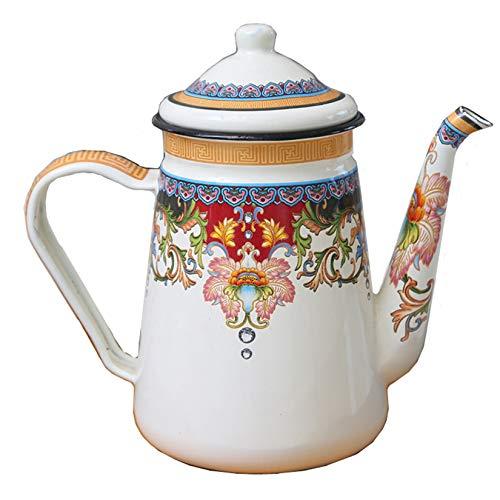 Pevfeciy Nostalgie Teekanne Emaille, Kaffeekanne Porzellan,Kaffeekanne Emaille Kanne 1.2L/39Oz,Geschirr Landhausstil