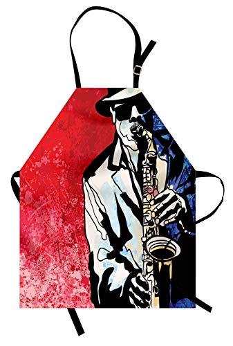 ABAKUHAUS Jazz Keukenschort, Musicus spelen saxofoon, Unisex Keukenschort met Verstelbare Nekband voor Koken en Tuinieren, Vermilion Navy Blue