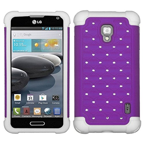 MyBat ASMYNA LG D500 (Optimus F6) Luxurious Lattice Dazzling TotalDefense Protector Cover - Retail Packaging - Purple/White