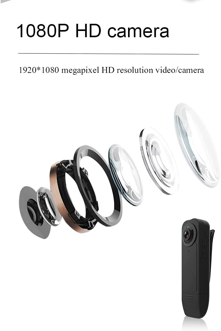 Mini Body Camera,Wearable 1080p Small Body Camera with Motion Detection, Micro Security Surveillance Hidden Nanny Camera for Home and Office