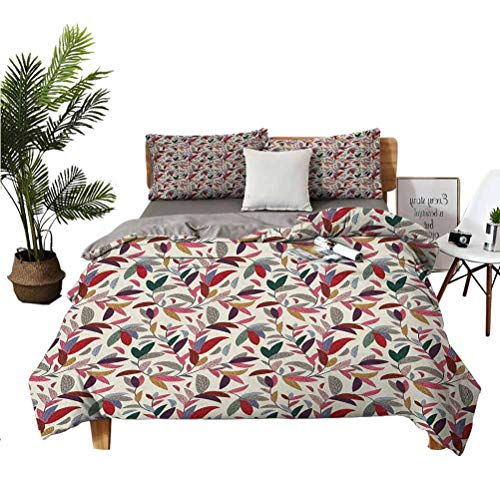 Flower 3-Piece Set of Microfiber Anti-fouling Soft Bedding Plant Swirls Leaves in Modern Hand Painted Like Image with Cream Backdrop Art Print Easy to Install Breathable and Heat-dissipating Sheets v