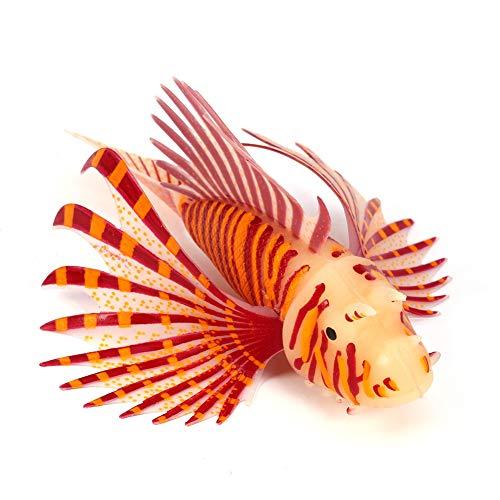 Zouminy 【𝐏𝐚𝐬𝐪𝐮𝐚】 Ornamento di Pesci Leone dell'acquario, Ornamenti dell'acquario di Pesci di Fluorescenza Decorazioni dell'acquario del carro Armato di Pesce del Silicone Artificiale 3D