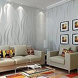 Beite Moderno papel pintado 3D con textura ondulada en relieve para recámara, sala de estar y fondo, Gris