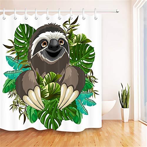 ZLWSSA 3D Wasserdicht Duschvorhang Niedlichen Cartoon Faultier Grün Tropischen Monster Weiß Badezimmer Polyester Stoff 180x180cm