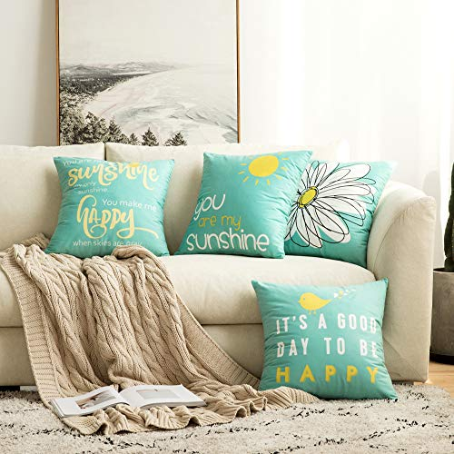 MIULEE Pack of 4 Decorative Throw Pillow Covers Farmhouse Cotton Linen Quote Words Pillowcases Cushion Cover Outdoor Shell for Car Sofa Bed Couch Bench Bird Sunshine Flower 18 x 18 Inch Teal