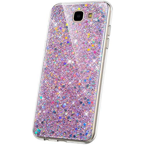JAWSEU Compatible Avec Samsung Galaxy J5 Prime/On5 2017 Coque Glitter Paillette Brillant Silicone TPU Transparente Diamant Strass Case Cristal Clair Flexible Souple Gel Bumper Case,Rose