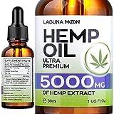 Lagunamoon Hemp Oil 5000MG for Sleep, Anti-Anxiety and Anti-Stress, Ultra Premium Hemp Seed Oil Help with Skin & Hair, Vegan Friendly