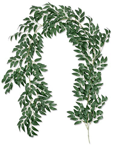 Famibay 2 Pack Artificial Willow Garland 11.4 Ft Silk Green Leaves Vine Faux Greenery Foliage Hanging Plants Fake Willow Leaves Twigs for Wall Wedding Arch Party Garden Table(Willow Garland-01, 2PC)