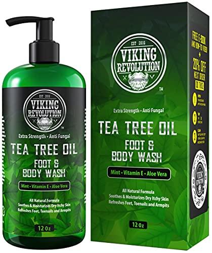 Antifungal Tea Tree Body Wash Soap for Men - Helps Athlete's Foot, Toenail Fungus, Jock Itch, Eczema, Ringworm & Body Odors - Extra Strength Tea Tree Oil Antifungal Men's Body and Foot Wash