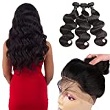 10A 360 Lace Frontal with 3 bundles Body Wave 100% Unprocessed Malaysian Virgin Hair with Closure Pre Plucked 360 Lace Frontal Closure with Bundles (24 26 28+22 frontal, Natural Black)